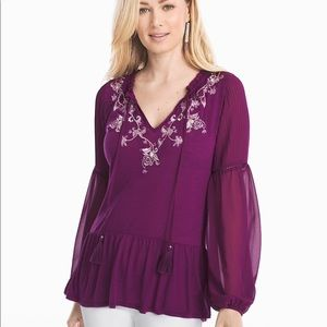 WHBM plum hobo blouse with embroidery